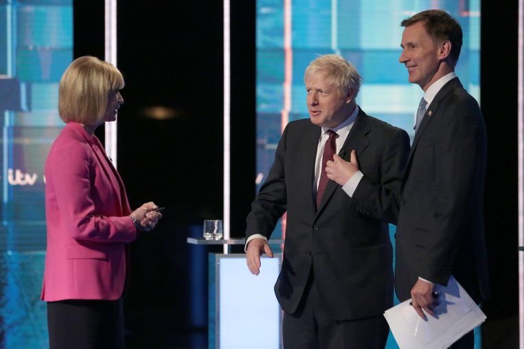 Het televisiedebat tussen Jeremy Hunt (R) en Boris Johnson. Beeld Matt Frost/ITV via Getty Images