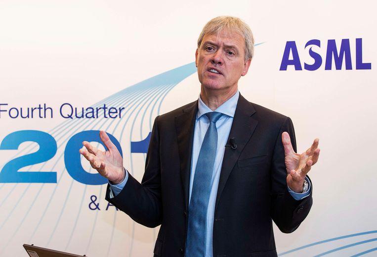 ASML-directeur Peter Wennink bij de presentatie van de jaarcijfers over 2013. Beeld reuters
