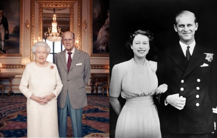 Links: koningin Elizabeth en prins Philip ter ere van hun zeventigste trouwdag. Rechts: het echtpaar op de huwelijksdag in 1947.