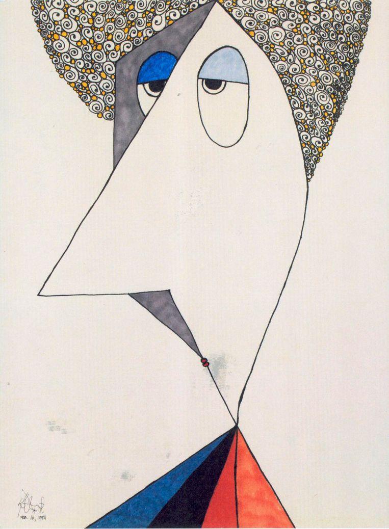 zelfportret Kurt Vonnegut Beeld -