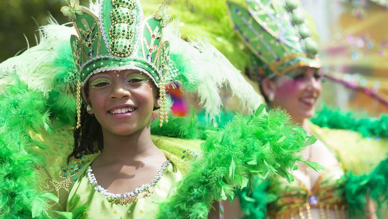 Kleurrijke deelnemers tijdens de 30e editie van het Zomercarnaval. Beeld anp
