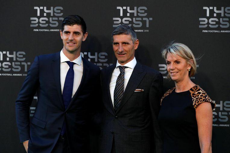 Thibaut Courtois met vader Thierry Courtois en moeder Gitte Courtois.