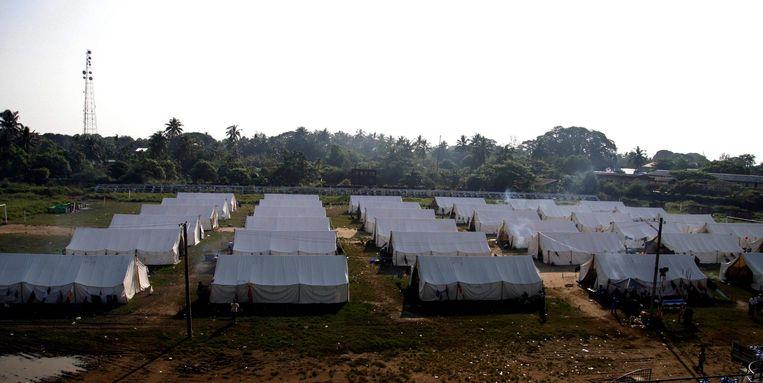 Veel Rohingya-moslims wonen in kampen bij de grens met Bangladesh Beeld epa