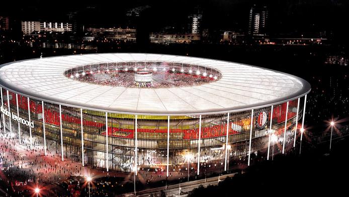Het BAM-stadion, terwijl de avond is gevallen.