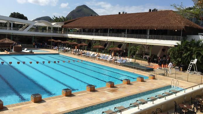 Het zwembad van het Holland Heineken House in Rio
