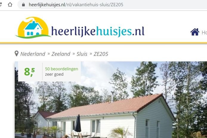 Website van heerlijkehuisjes.nl dat de verhuuractiviteiten van VVV Zeeland heeft overgenomen.