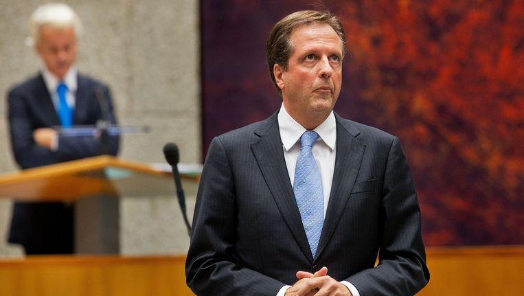 D66-leider Alexander Pechtold in debat met PVV-fractievoorzitter Geert Wilders tijdens de Algemene Beschouwingen in de Tweede Kamer. Beeld ANP