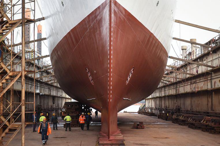 Een schip op een andere scheepswerf in Polen.  Beeld EPA
