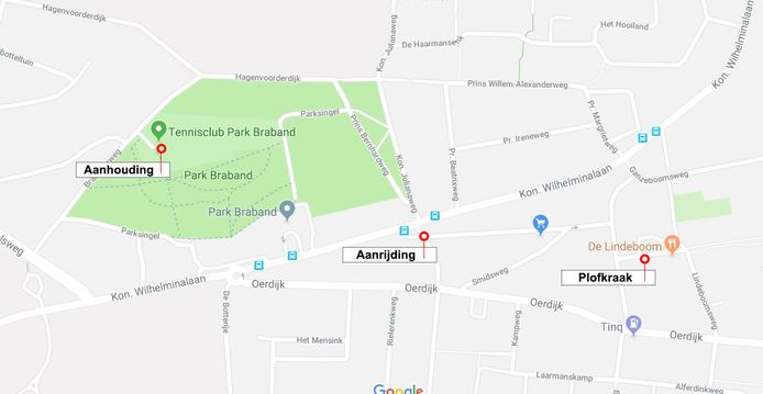 De locaties waar de plofkraak, aanrijding tussen de politie en verdachten en de aanhouding plaatsvonden.