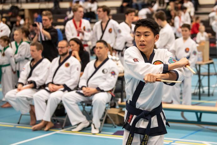 Beeld van  Hwa Rang Tang Soo Do Kampioenschap in de Pathmoshal in Enschede.