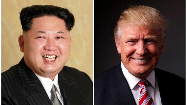 De Noord-Koreaanse leider Kim Jong-Un (links) en Donald Trump.