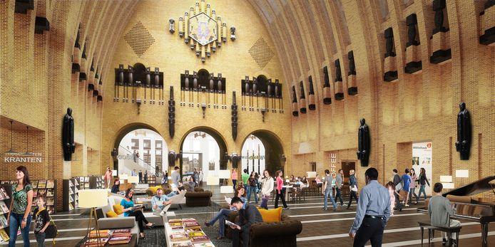 Impressie van de hal van de  bibliotheek op de Neude.