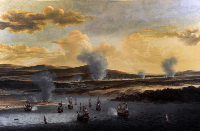 Schilderij van Willem Schellink: Nederlandse vloot in de monding van de Medway. Het uit het Rijksmuseum afkomstige origineel van een ander schilderij van Schellink over de tocht naar Chatham komt in de nabije toekomst naar Vlissingen.