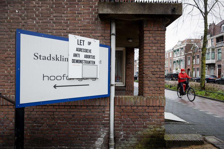 Bij een abortuskliniek in Utrecht wordt gewaarschuwd voor anti-abortusdemonstranten. Beeld ANP