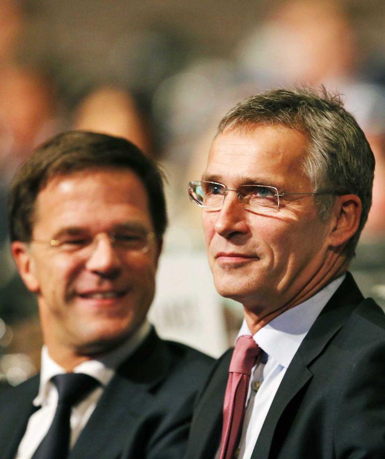 De nieuwe secretaris-generaal van de NAVO, Stoltenberg, tijdens de bijeenkomst in Den Haag. Beeld anp