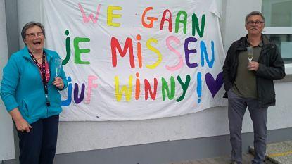 """Afscheidsfeest in coronastijl voor turnjuf Winny (62): """"Later doen we het nog eens over met alle Hollebekertjes"""""""
