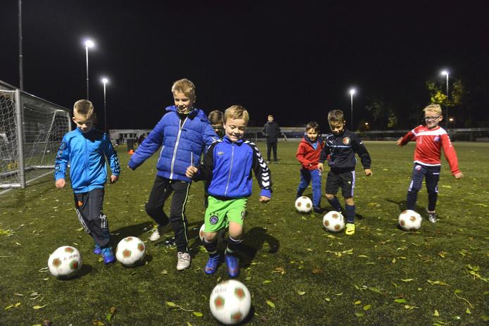 Jeugdleden van FC Lienden op hun 'eigen' kunstgrasveld.