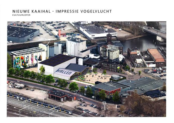De nieuw te bouwen Kaaihal op de Tramkade, met rechts de Verkadefabriek.