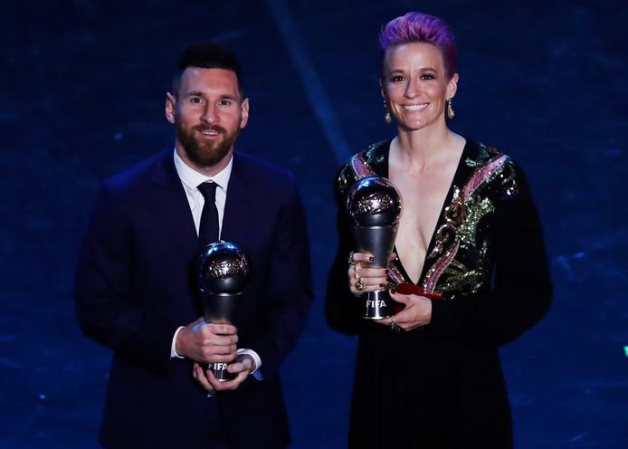 Lionel Messi en Megan Rapinoe, de beste spelers ter wereld.