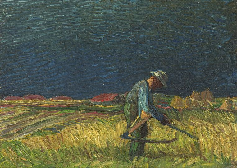 Boer op de Workumerwaard, 1950  van Jopie Huisman. Beeld