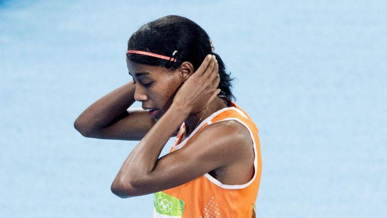 'Er zit niks meer in', zegt Sifan Hassan na de finale 1500 meter. Beeld anp