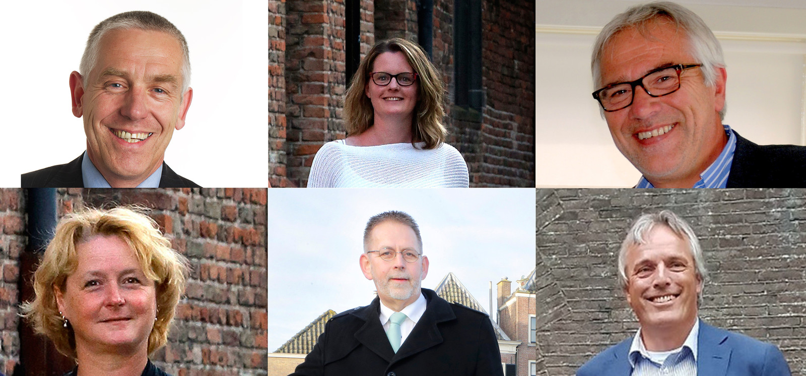 Dit zijn de wethouders in Vijfheerenlanden. Boven (vlnr): Marcel Verweij, Tirtsa Kamstra en Cees Taal. Beneden (vlnr): Christa Hendriksen, Maks Middelkoop en Huib Zevenhuizen.