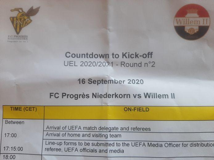 Het tijdschema voor Progrès Niederkorn - Willem II.