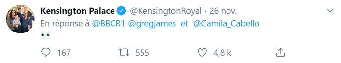 Le duc et la duchesse de Cambridge ont répondu à Camila Cabello avec un simple émoji.