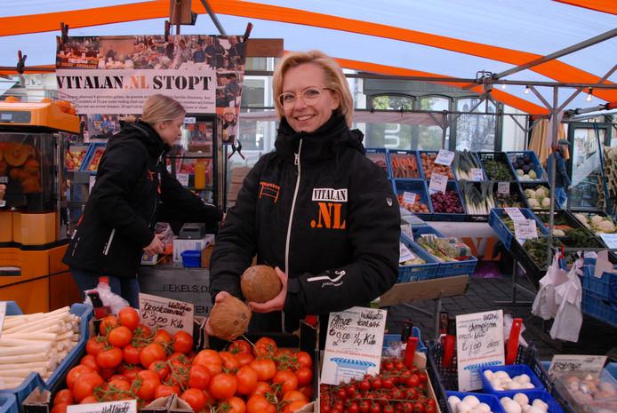 Jolanda Eekels-Oremans op de markt.