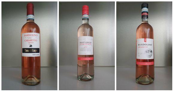 vlnr:  Tana di Lupo Bardolino Chiaretto, Pinot Grigio delle Venezie Blush, Bardolino Chiaretto