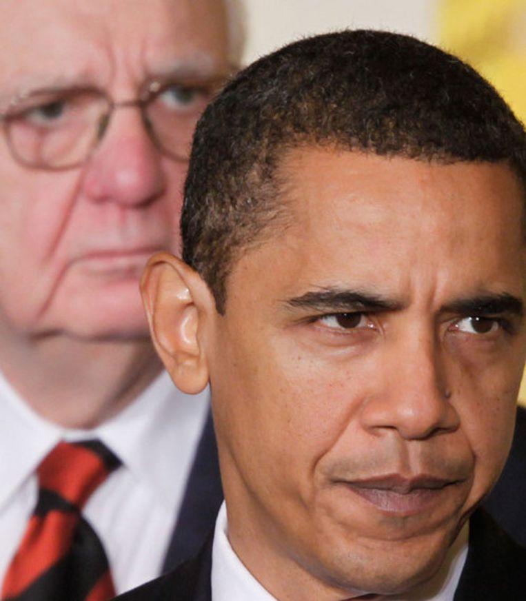 Vrijdag werd bekend dat in januari 598.000 banen verloren gingen in de VS. Obama noemde het banencijfer ''verwoestend nieuws''. Foto AP Beeld