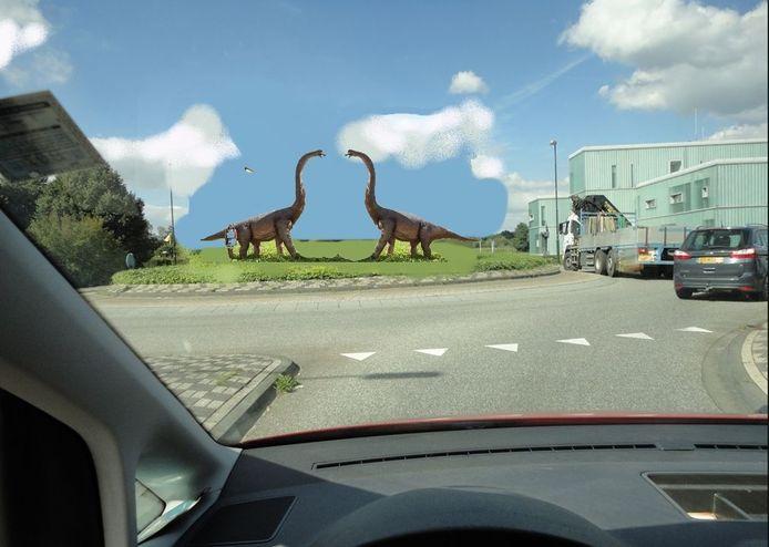 Impressie van de dino's die komen te staan op de rotonde bij bet politiebureau (rechts) in Boxtel.