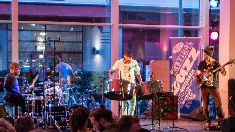 Het trio Jonathan Scales Fourchestra. Beeld Eric van Nieuwland