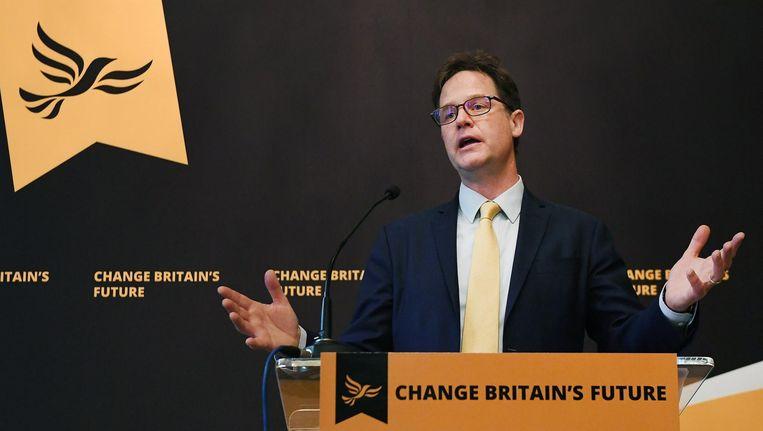 Niet iedereen was blij met de keuze voor Nick Clegg. Beeld afp