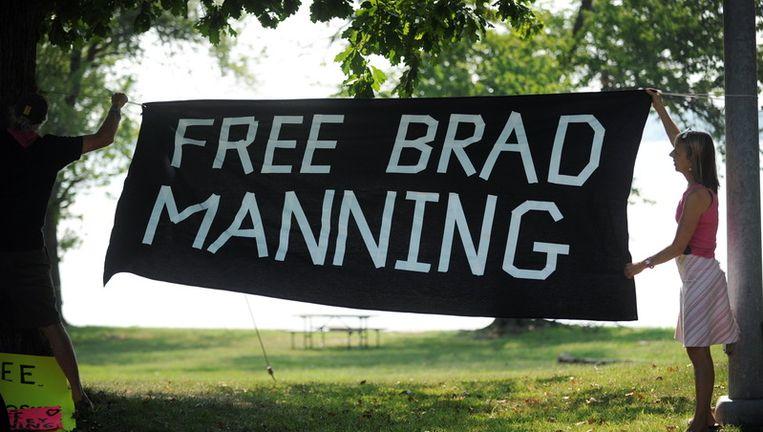 Protest tegen de opsluiting van Bradley Manning. © EPA Beeld