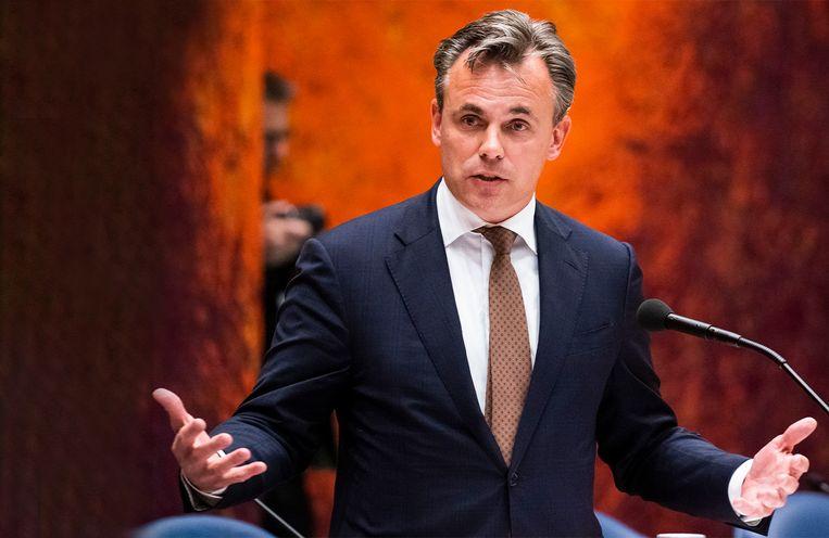 Staatssecretaris Mark Harbers van Justitie en Veiligheid (VVD) tijdens het debat waarin hij bekend maakt op te stappen. Beeld Freek van den Bergh