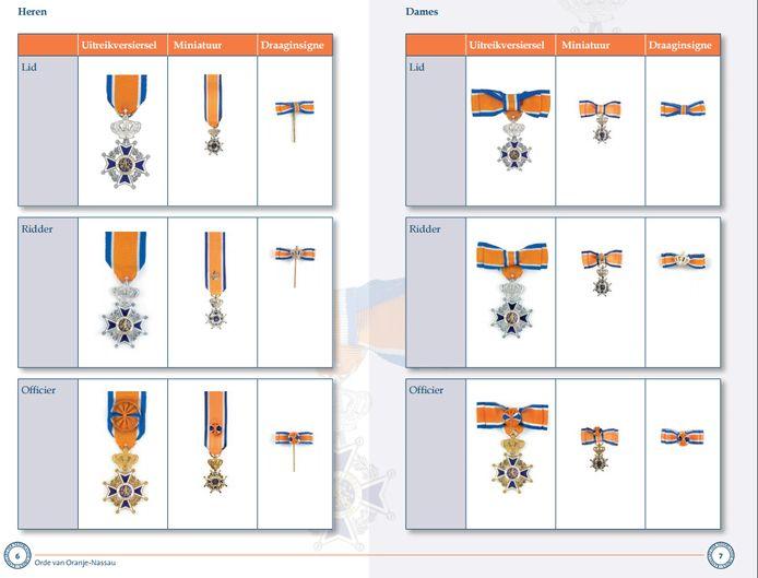 Een overzicht van de verschillende onderscheidingen in de Orde van Oranje-Nassau voor dames en heren.