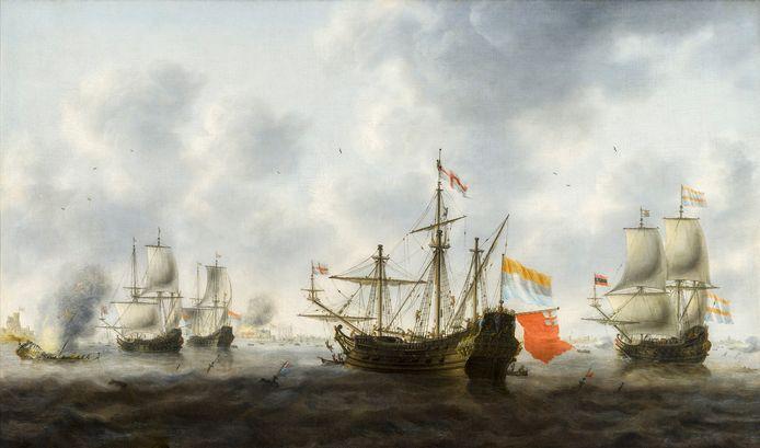 Meester Jacob Bellevois - De Slag bij de Medway, met de veroverde Unity (1670) uit de collectie Inder Rieden.