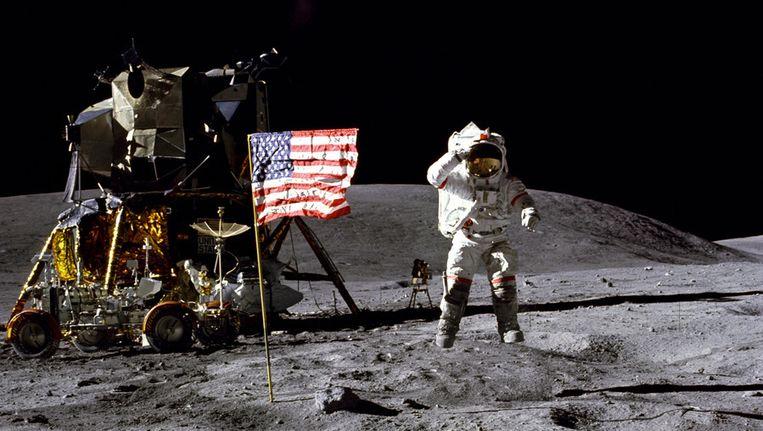 De Amerikaanse astronaut Buzz Aldrin zette als tweede mens een voet op de maan tijdens de Apollo 11-missie in 1969. Beeld getty