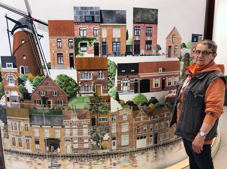 Lieve Flour bij een deel van Huizenwende, met links de molen uit de Oranjemolenstraat.