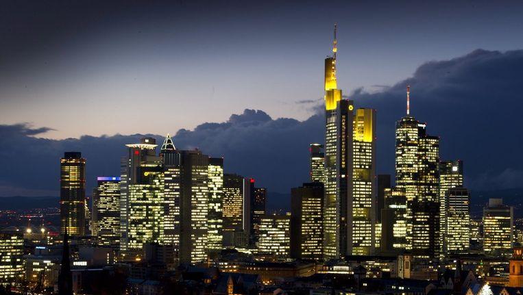 De wolkenkrabbers van de bankgebouwen in Frankfurt Beeld EPA