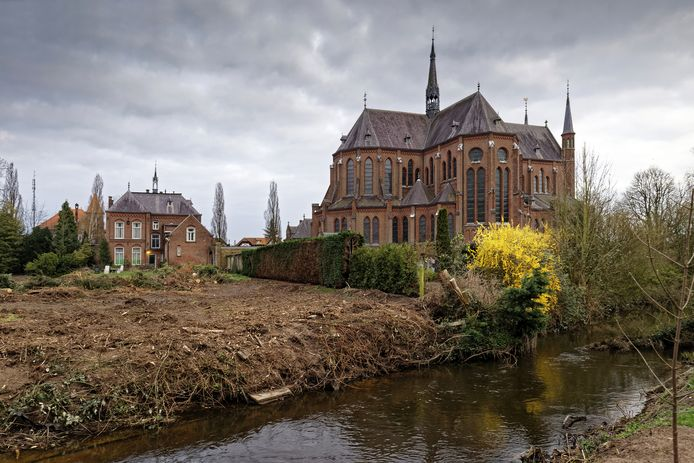 De volkomen lege tuin achter de pastorie van de Heilig Hartkerk in Boxtel. Struiken, planten en metershoge bomen zijn voorgoed verdwenen.