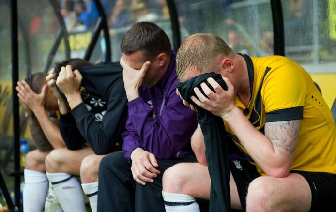Breda - 31-05-2015 - foto: roy lazet - NAC - Roda JC - eredivisie - seizoen 2014-2015 - nacompetietie - teleurstelling nac na de wedstrijd degradatie is een feit. Demy de Zeeuw of NAC Breda , Uros Matic of NAC Breda, Frank Gommers en Henrico Drost of NAC Breda