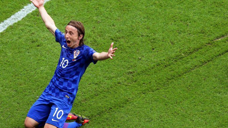 Luka Modric viert zijn doelpunt tegen Turkije Beeld anp