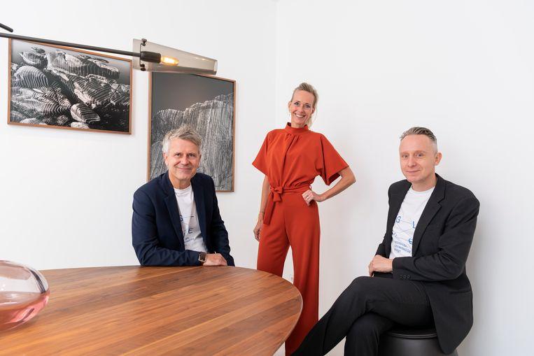 Founding partners van Glue: Guus van Maarschalkerweerd (links) en Janine de Jong (midden) en David Heldt (rechts). Beeld Ilco Kemmere