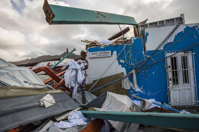 Beelden van de verwoesting op Sint-Maarten helpen om mensen te laten doneren. Beeld ANP