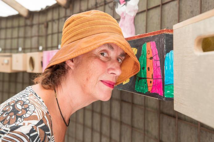 Petra Kerkhof uit Ellewoutsdijk bekijkt de kunstzinnige kijkdozen in de tent.