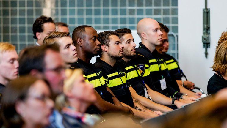 Aspirant politieagenten bij de opening van het Politieonderwijsjaar 2016/2017. Beeld ANP