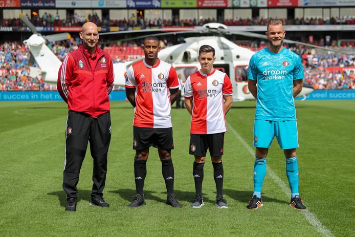 De presentatie van de nieuwe spelers van Feyenoord tijdens de open dag, vroeg in de voorbereiding op het huidige seizoen.