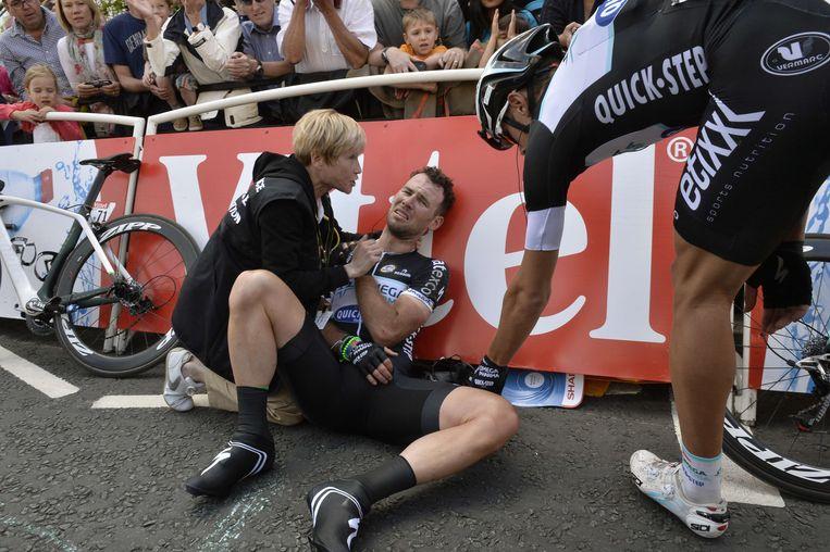 Cavendish na een val in de Tour van 2014. Beeld AFP